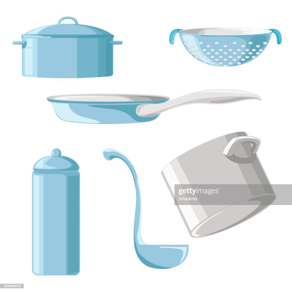 Set of blue cookware isolated on white background. Vector illustration.