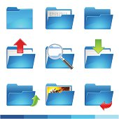 Set of blue document folder icons