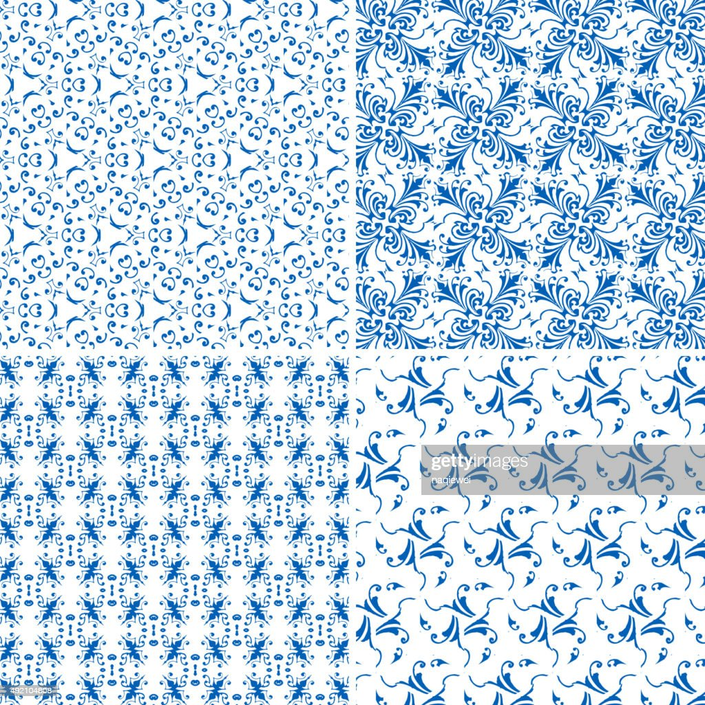 Set Of Blue Floral Pattern Background High Res Vector Graphic
