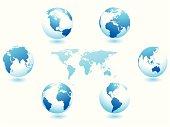 Set of blue globes