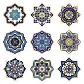 Set of blue mandalas.