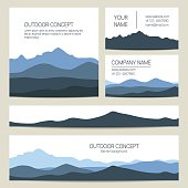 Set of blue mountains backgrounds.