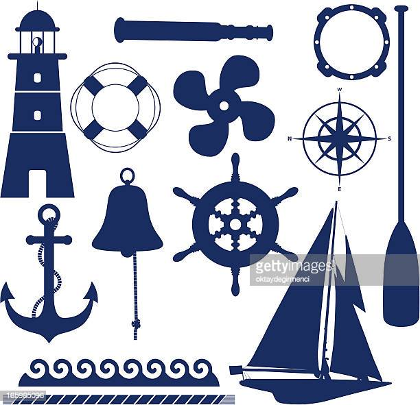 set of blue nautical and maritime themed icons - buoy stock illustrations, clip art, cartoons, & icons