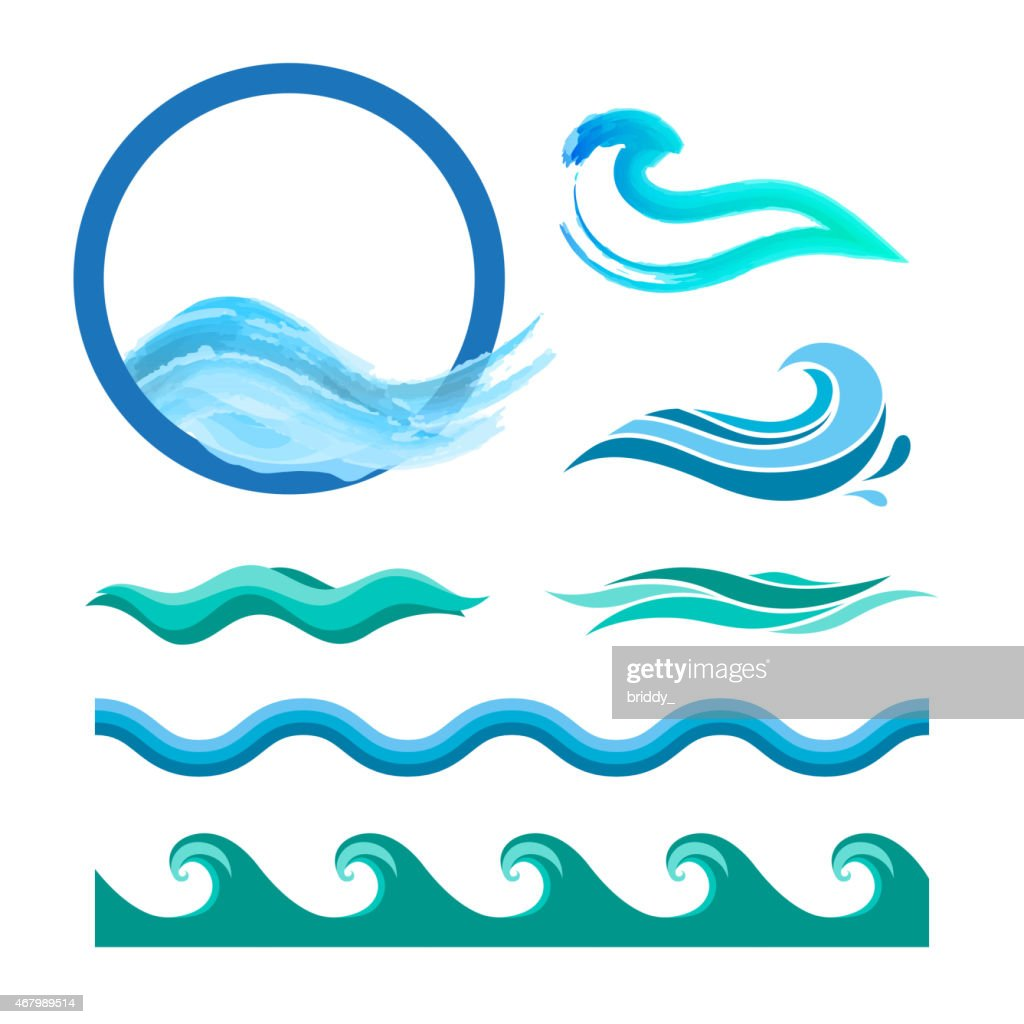 Set of blue ocean waves