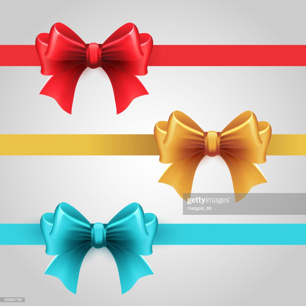 Set of blue, Red and gold holiday ribbon with bow