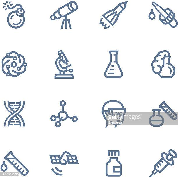 set of blue science-related icons - pipette stock illustrations, clip art, cartoons, & icons