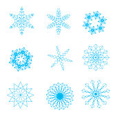 Set of blue snowflakes for New Christmas holiday or New Year.  Vector.
