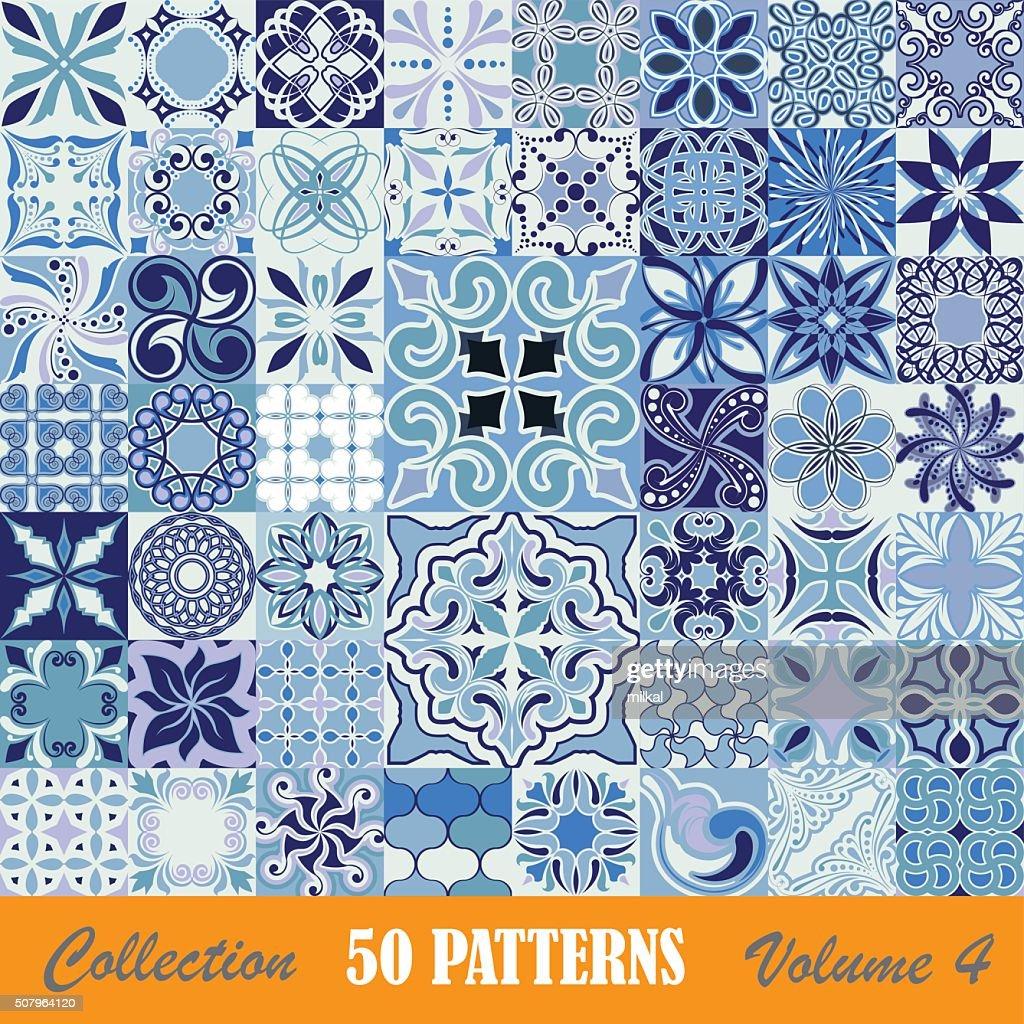 Set of blue tile patterns