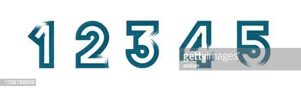 illustrazioni stock, clip art, cartoni animati e icone di tendenza di set di blu vettorino grunge pennellate numeri 1 2 3 4 5 - numero 2