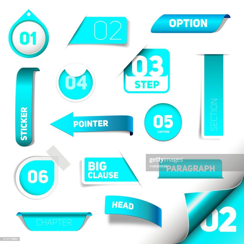 Set of blue vector progress step icons