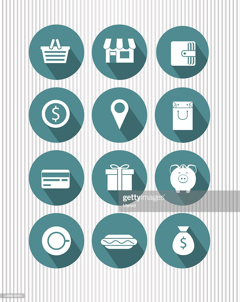 A set of blue vectored shopping icons