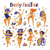 Set of body positive happy women dancing in bikini