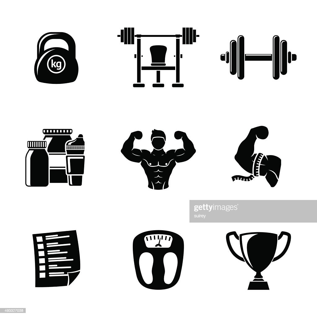 Set of Bodybuilding icons with - dumbbell, weight, bodybuilder, scales