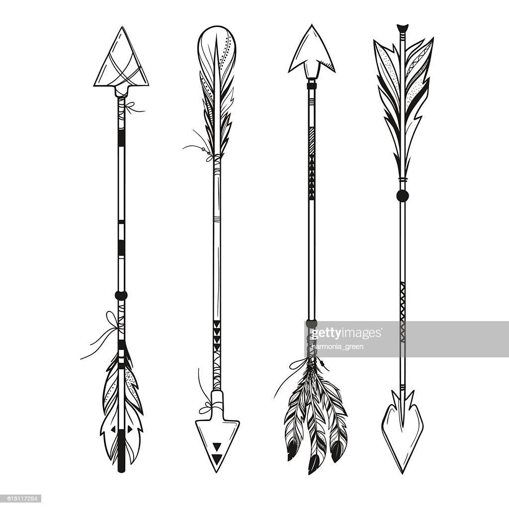 set of boho arrows, vector illustration
