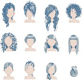 Set of bold hair colors female style sprites.
