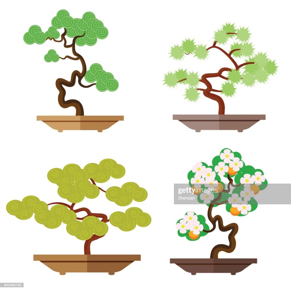 Set of bonsai. Japanese culture is the cultivation of bonsai. Miniature plants. Japanese culture is the cultivation of bonsai. Vector, illustration in flat style isolated on white background EPS10.