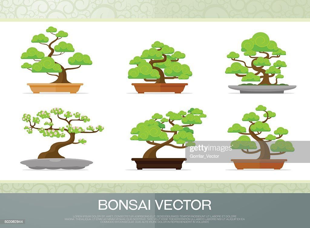 set of bonsai plant  in the pot flat style