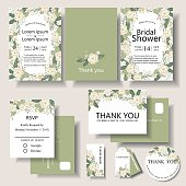 Set of Botanical Frame Wedding invitation card. Bridal shower card. Front and Back template.