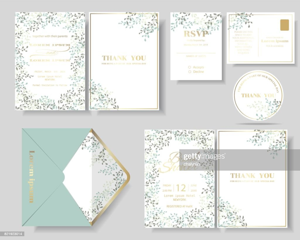 Set of botanical leaves wreath wedding invitation card.
