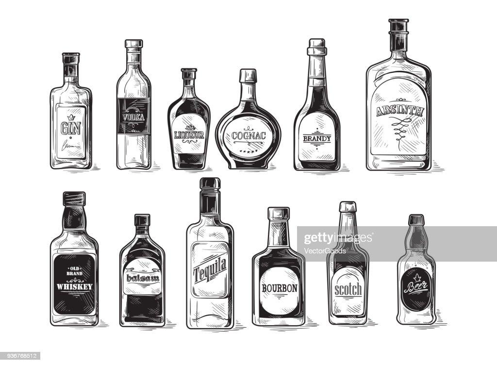 set of bottles for alcohol