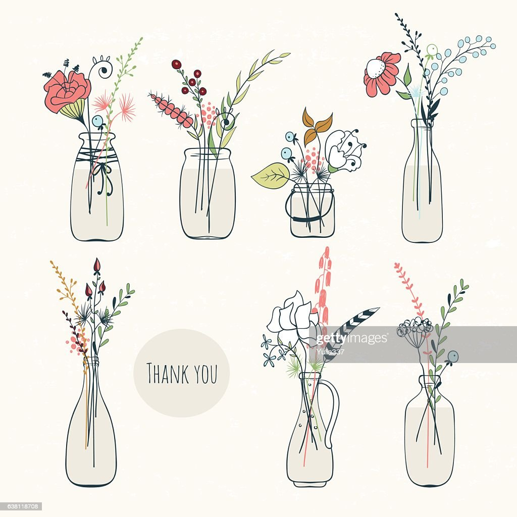 Set of bottles with flowers