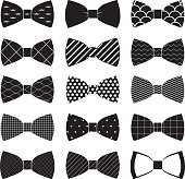 set of bow tie in vector on white background