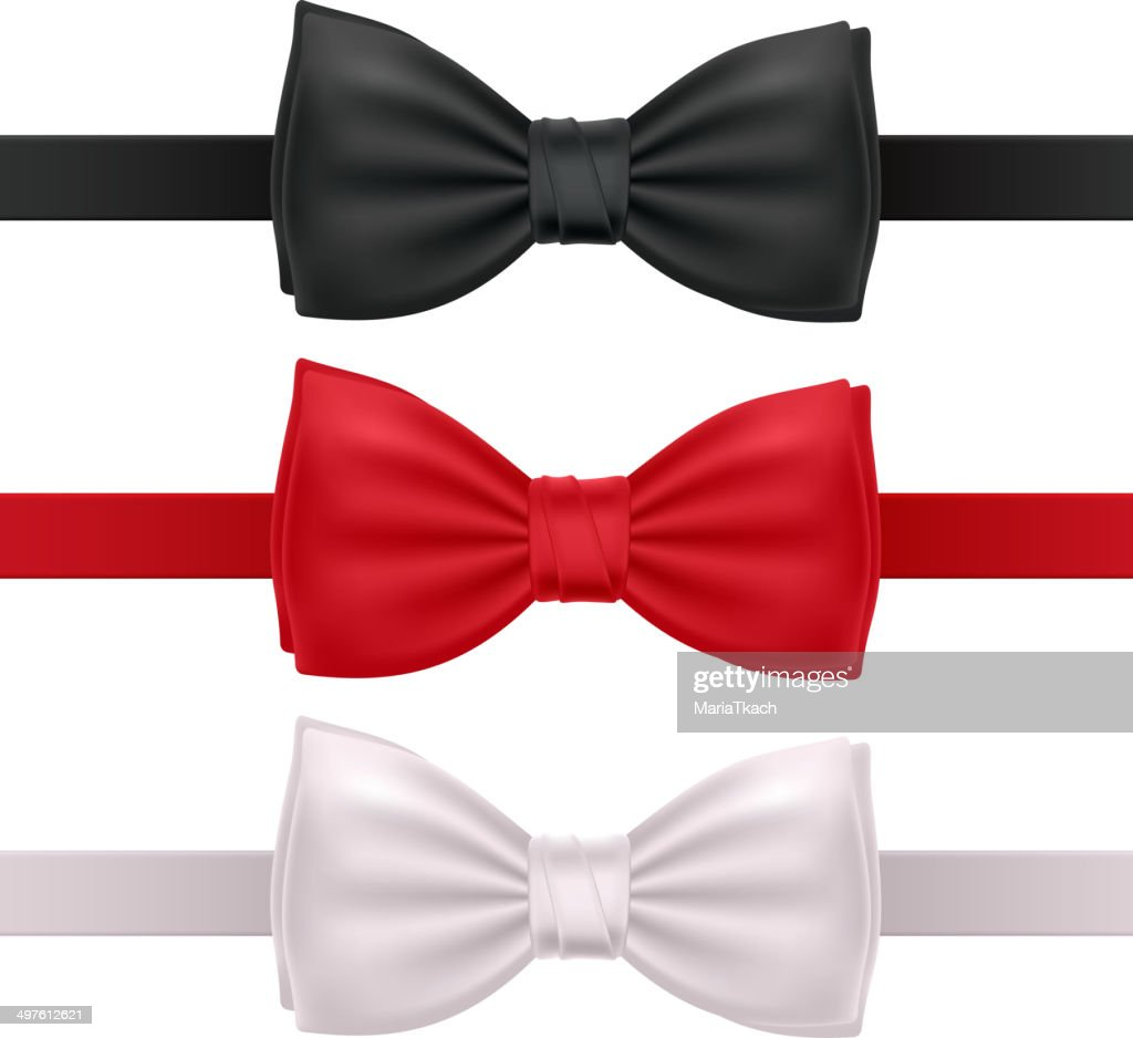 Set of bow ties - red, black and white.