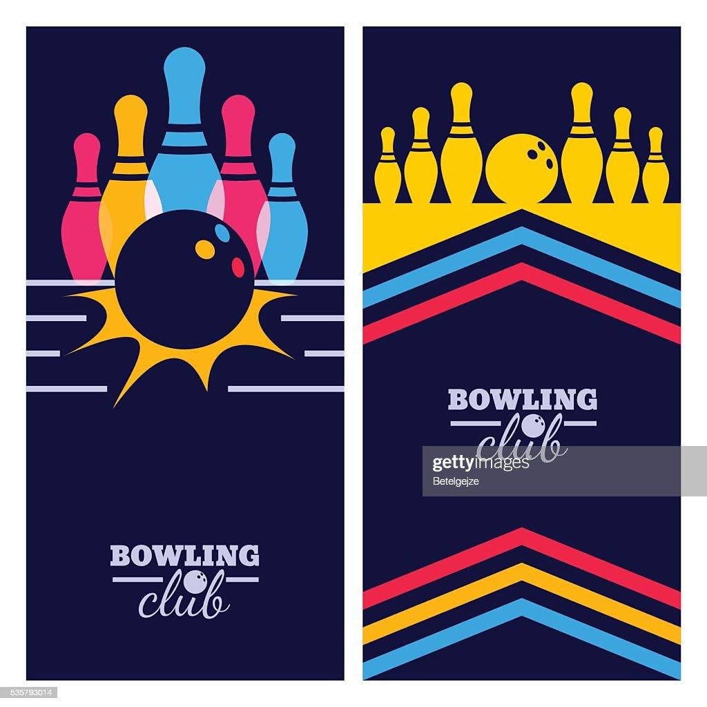 Set of bowling banner backgrounds, poster, flyer design elements.