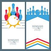 Set of bowling banner backgrounds, poster, flyer or label design.