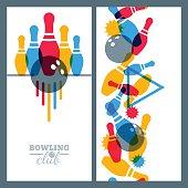 Set of bowling banner, poster, flyer or label design elements.
