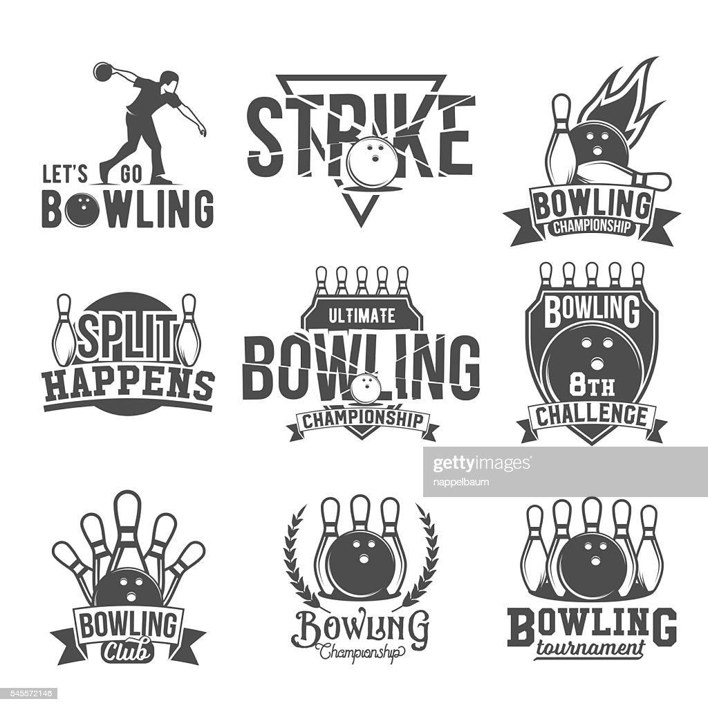 Set of  bowling emblems, labels, badges and designed elements