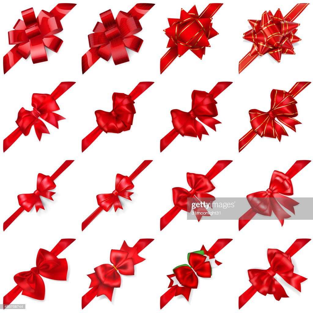 Set of bows with ribbons arranged diagonally