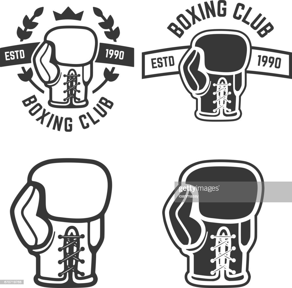 set of boxing club emblems templates isolated on white background