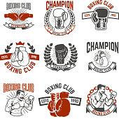 Set of boxing club labels. Design elements for label, emblem, sign. Vector illustration