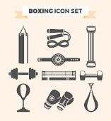 Set of boxing equipment vector monochrome design elements isolated on beige background. Vector Illustration