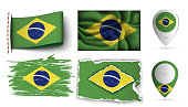 set of brazilia flags collection isolated on white