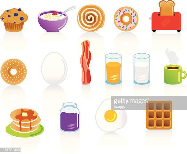 set of breakfast food and drink items - breakfast cereal stock illustrations, clip art, cartoons, & icons
