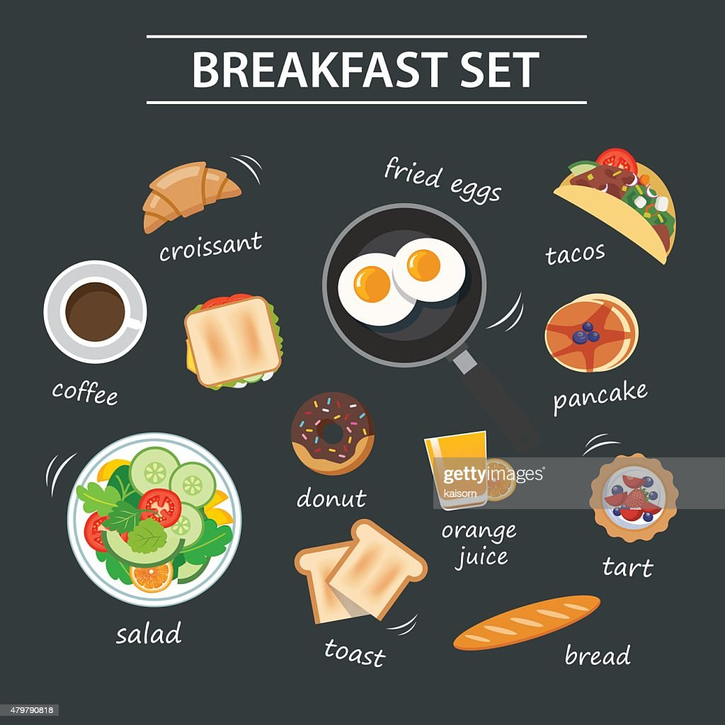 set of breakfast menu on chalkboard