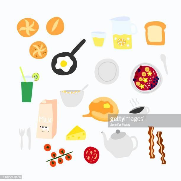 ilustraciones, imágenes clip art, dibujos animados e iconos de stock de conjunto de iconos de vectores de desayuno - mesa de comedor