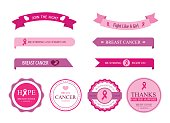 Set of breast cancer label and ribbon pink color.