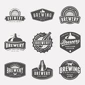 set of brewery labels, badges and design elements