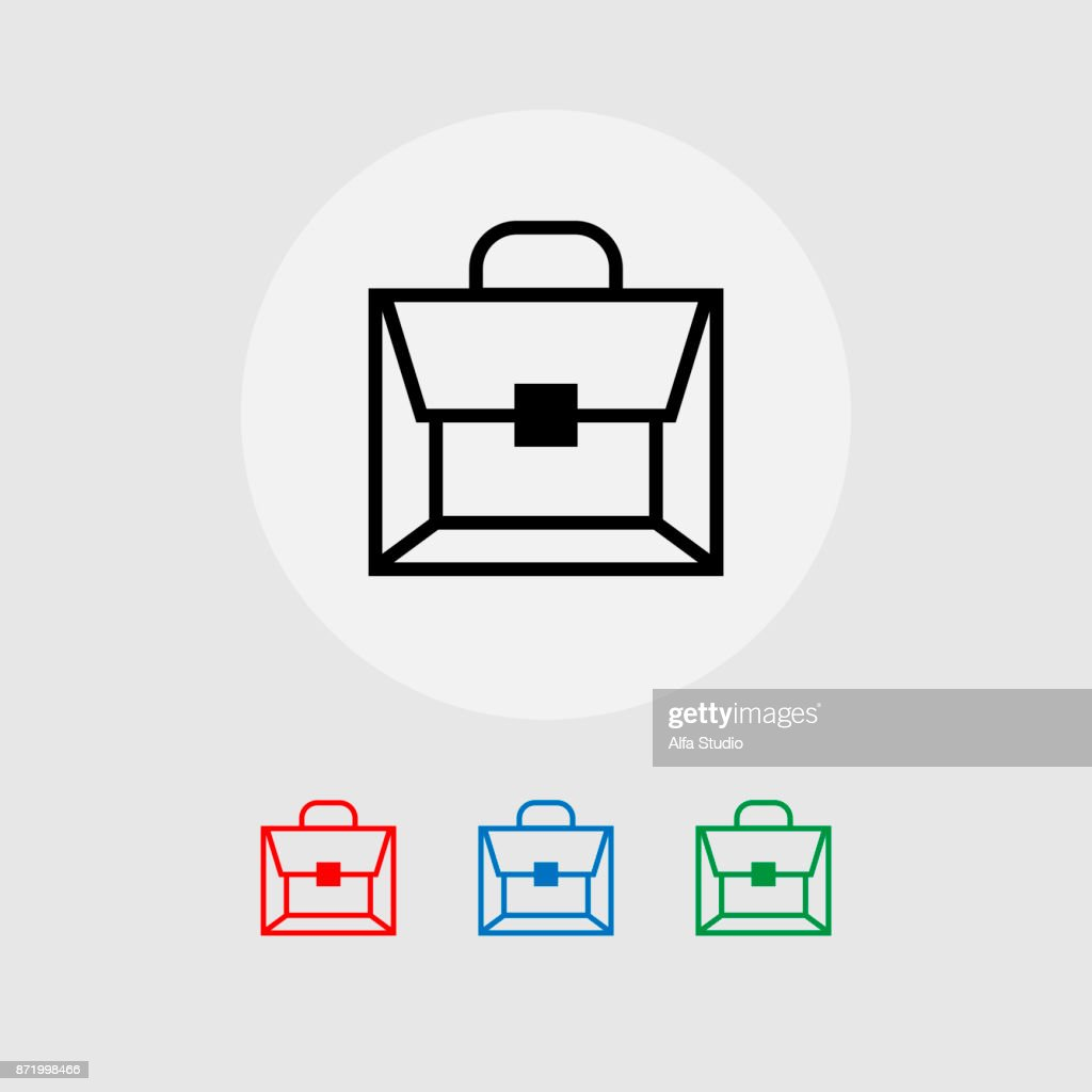 A set of briefcase icons. Vector illustration.