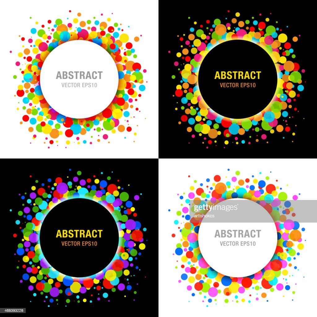 Set of Bright Celebration Holiday Frames on Black Background
