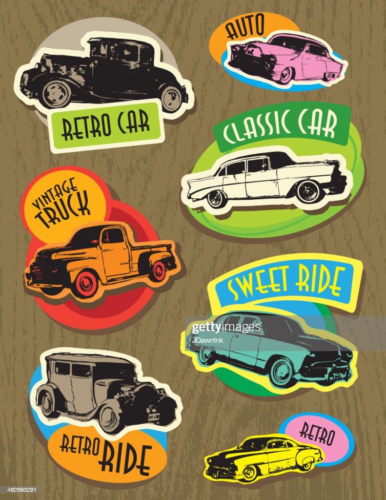 Juego de color brillante Retro vintage coche etiquetas, señales clásico : Ilustración de stock