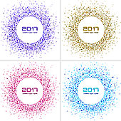 Set of Bright Colorful New Year 2017 circle frames Backgrounds.