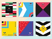 Set of bright colorful trendy background covers design.