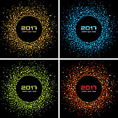 Set of Bright Confetti Colorful New Year circle frame Backgrounds.