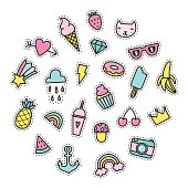 Set of bright cute pins.
