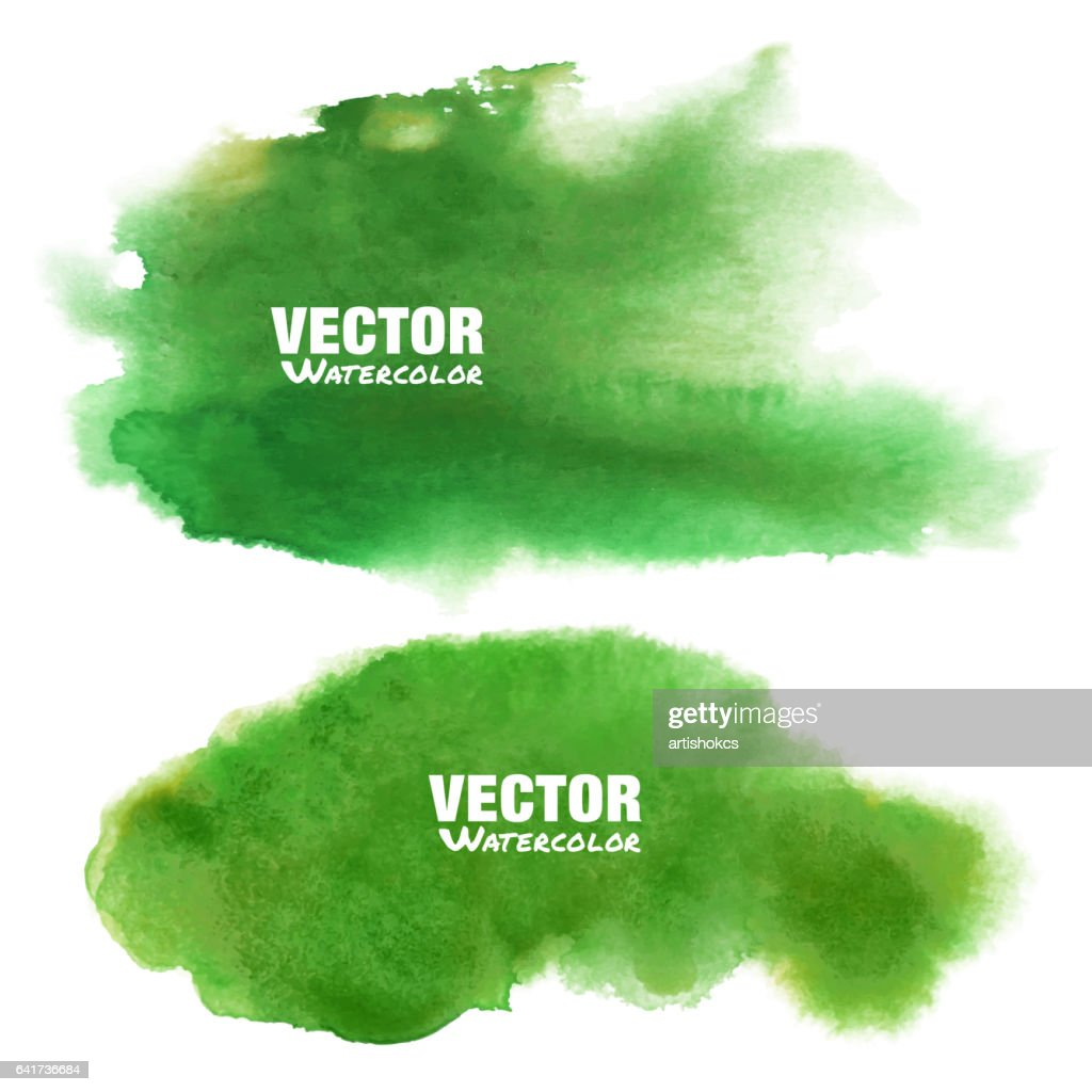 Set of bright green - yellow spring watercolor vector grunge stains isolated on white background with realistic paper watercolor texture. Aquarelle green spot. Blur wash drawing design elements.