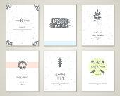 Set of bright romantic wedding invitations.